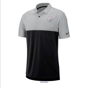 Mens Nike Polo Shirt Pittsburgh Steelers Gray NFL